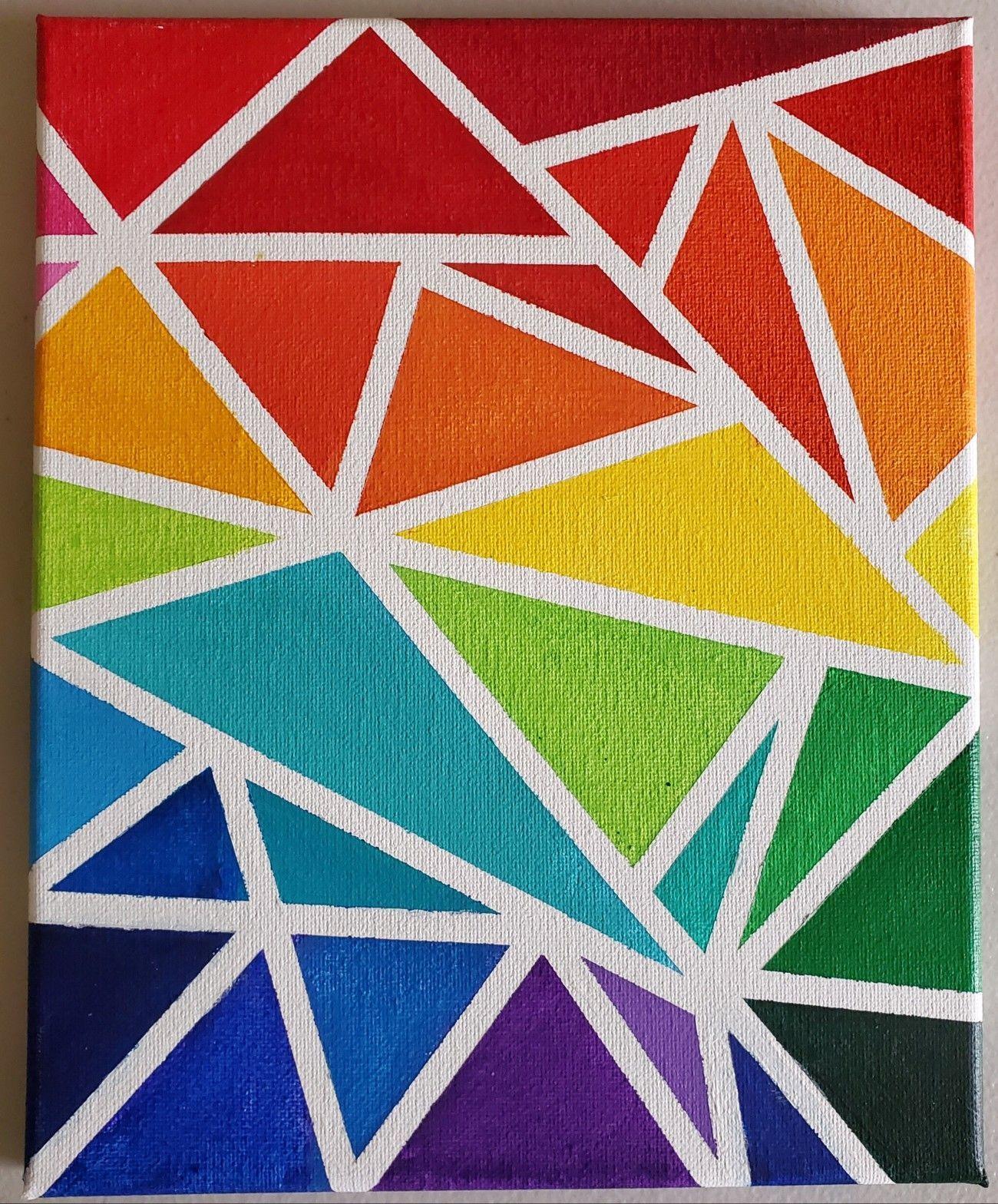 Geometric Rainbow Art Using Masking Tape Maskingtapeart Made With Acrylic On 8x12 Canvas Triangles Mad Masking Tape Art Tape Wall Art Simple Canvas Paintings