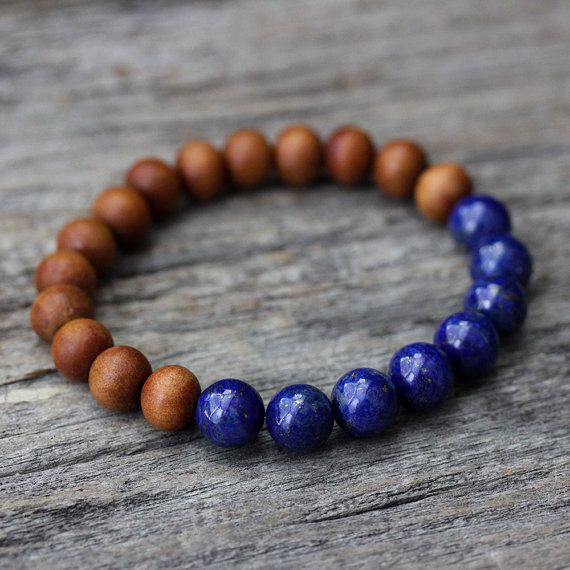Lapis Lazuli Sandalwood Unisex Beaded Bracelet / Cobalt by byjodi