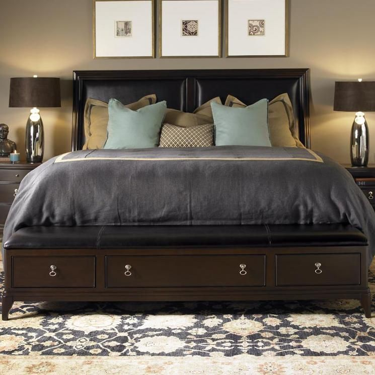 alston king bed with leather upholstered headboard and storage