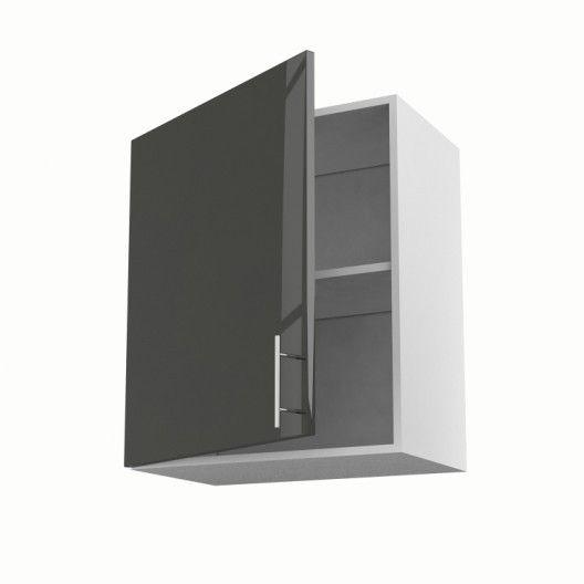 Meuble de cuisine haut gris 1 porte Rio H70 x l60 x P35 cm
