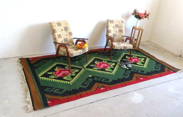 Perzisch Tapijt Goedkoop : 3.32x1.67m 10.89x5.47ft turkish kilim rugs vintage oushak rugs green