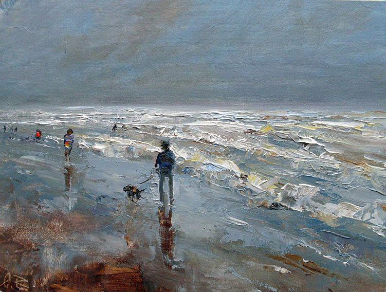 """Ölbild """"Boy and dog"""" 18x24cm oil on canvas panel"""