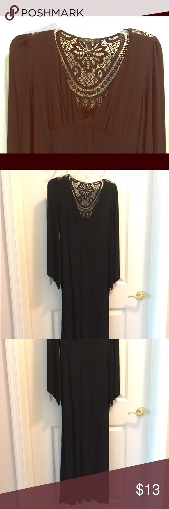 long black maxi dress with lace back black maxi long black