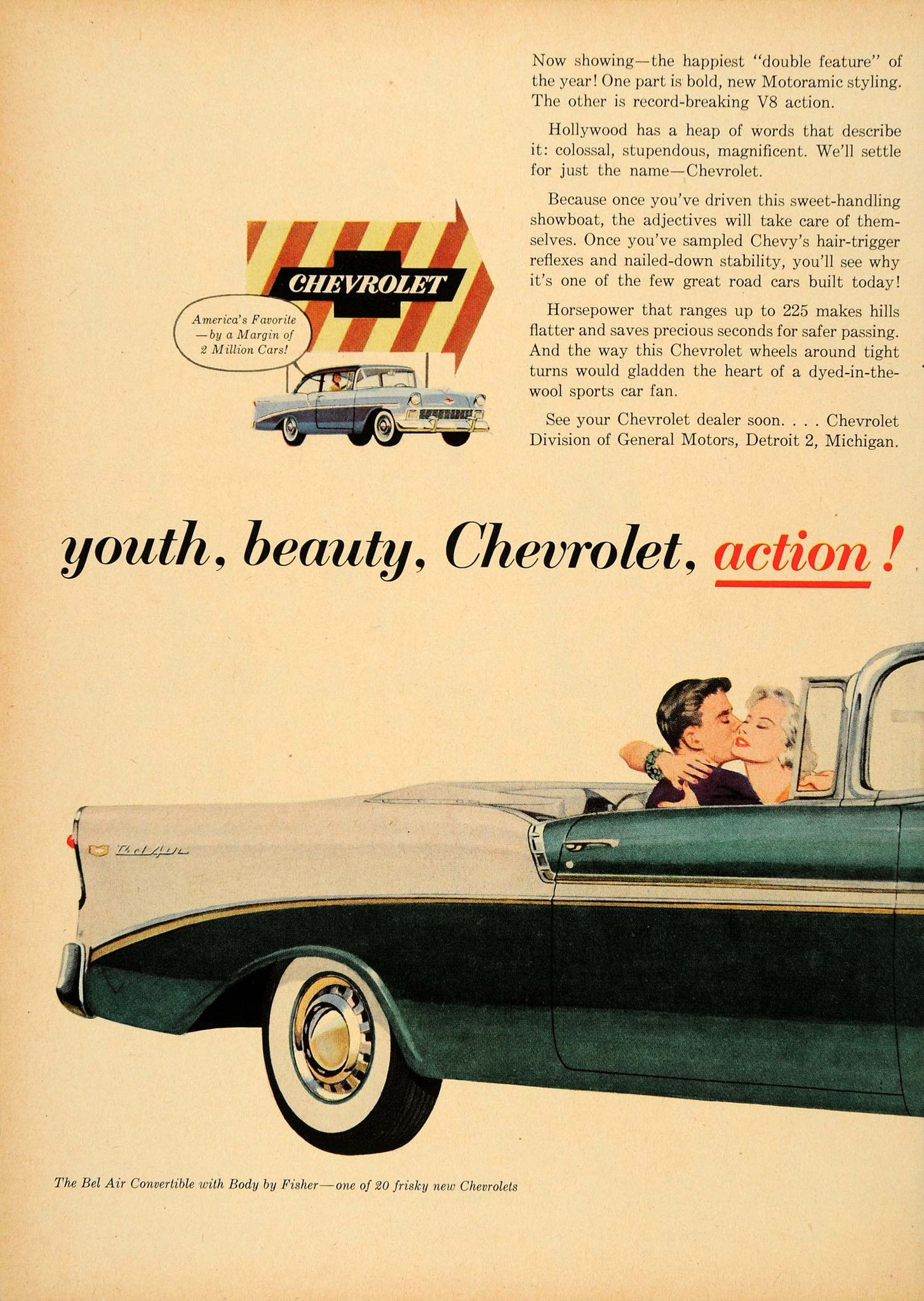 1956 Ad Chevrolet Division GM Green Bel Air Convertible