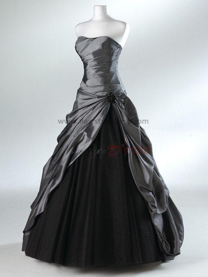 Elegant Black Gowns | Gown Strapless Elegant Satin