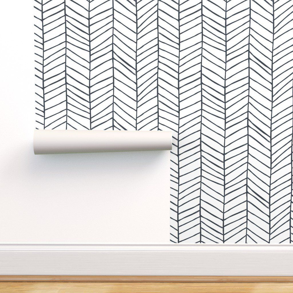 Peel And Stick Removable Wallpaper Herringbone Black And White Feather Walmart Com In 2021 Herringbone Wallpaper Removable Wallpaper Self Adhesive Wallpaper