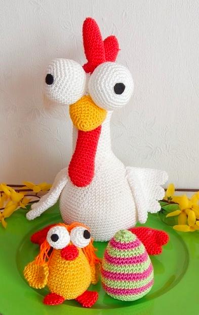 Anleitung Zum Häkeln Für Ein Verrücktes Huhn Mit Küken Und Osterei