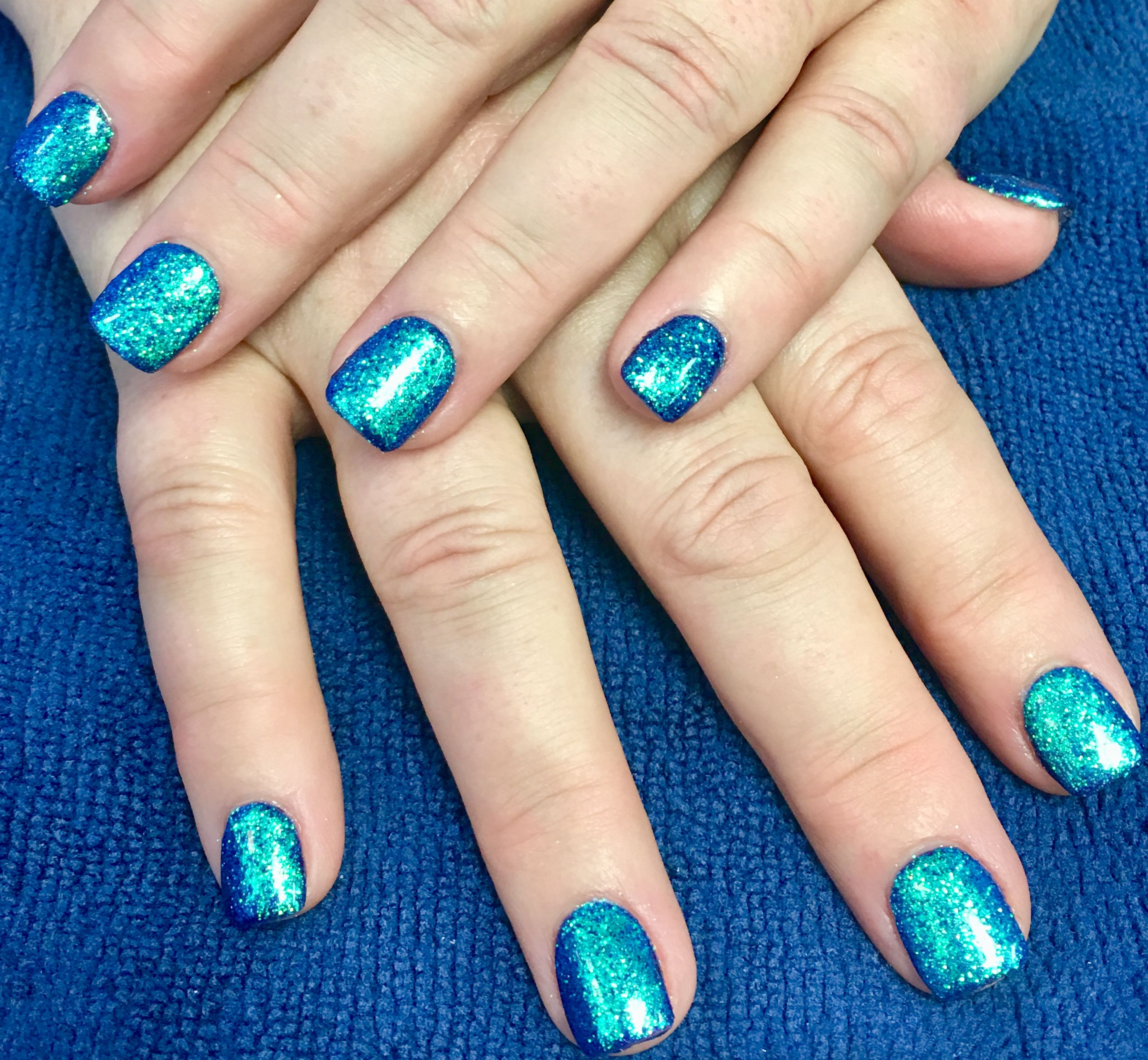 Polygel with DND gel polish and loose glitter | Seas the Day Nail ...