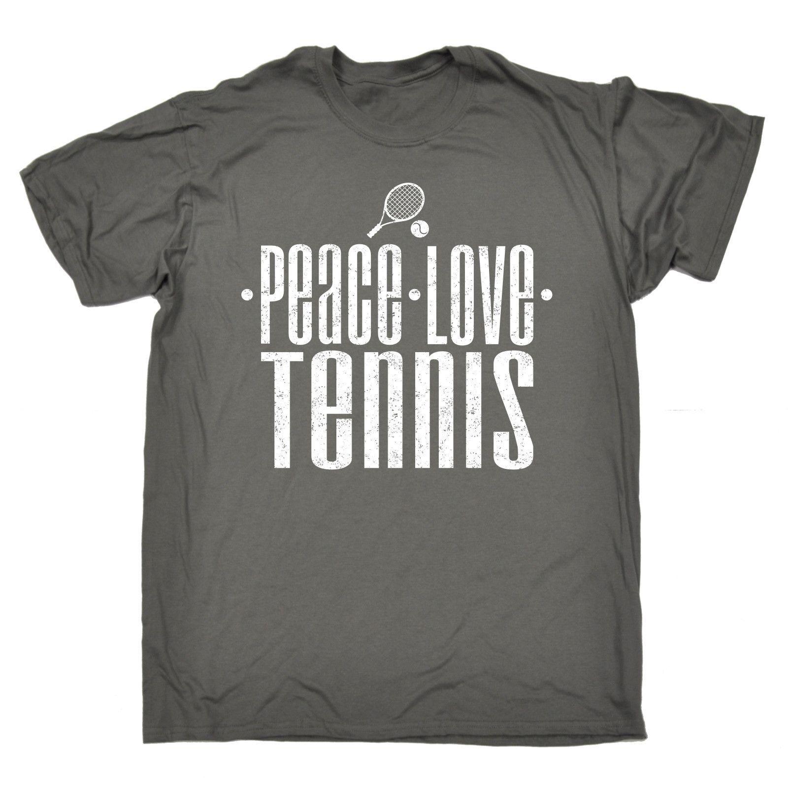 123t USA Men's Peace Love Tennis Funny T-Shirt
