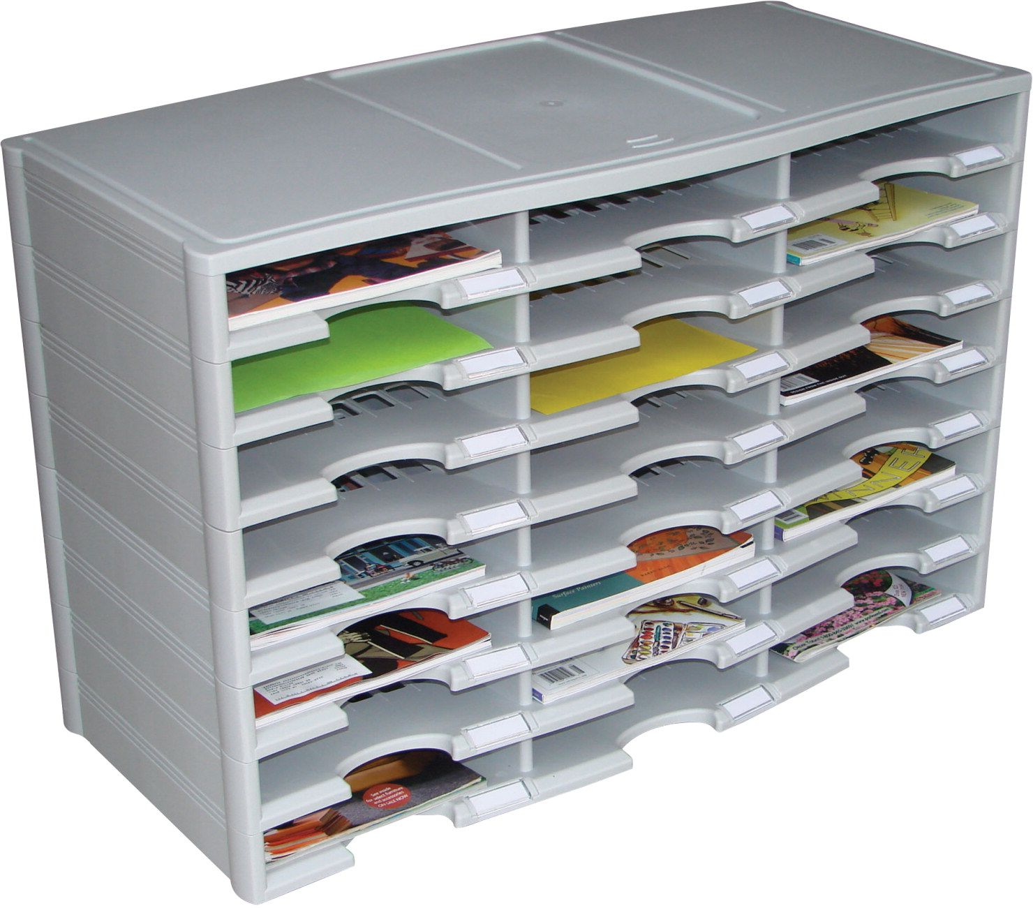 Storex Literature Organizer 24 Compartments Gray Edclassroom