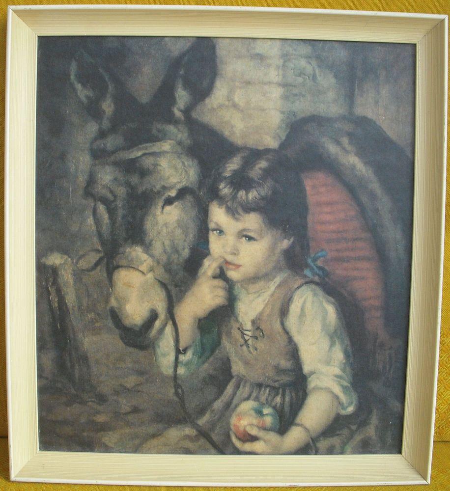 vintage retro francisco ribera with donkey print framed