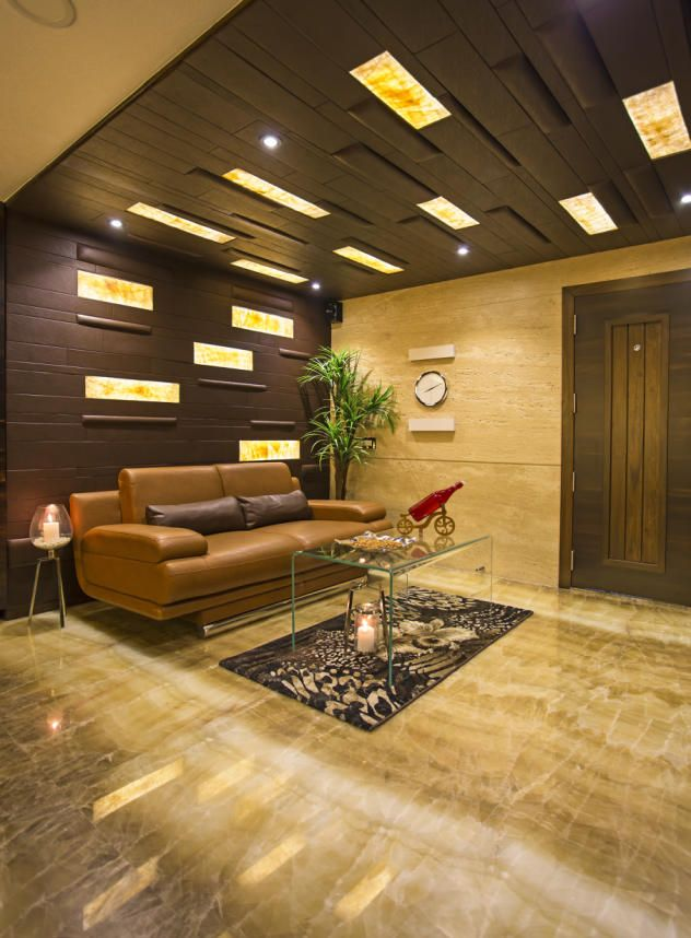 False Ceiling Designs For Living Room In Flats: CEILING WITH LEATHER AND ONYX DESIGN BY :- RAZA DECOR
