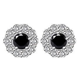 cbbc4b01c 4.25 ct Round Black Moissanite 10k White Gold Halo Stud Earrings by  JewelryHub on Opensky
