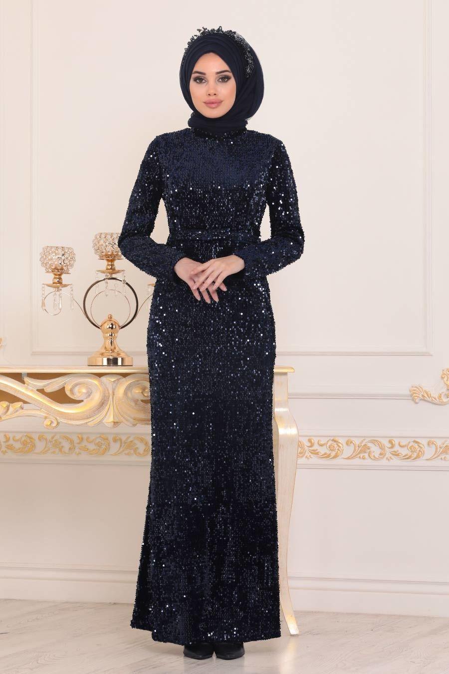 Tesetturlu Abiye Elbise Pul Payetli Lacivert Tesettur Abiye Elbise 8727l Tesetturisland Com Elbise Payet Musluman Modasi