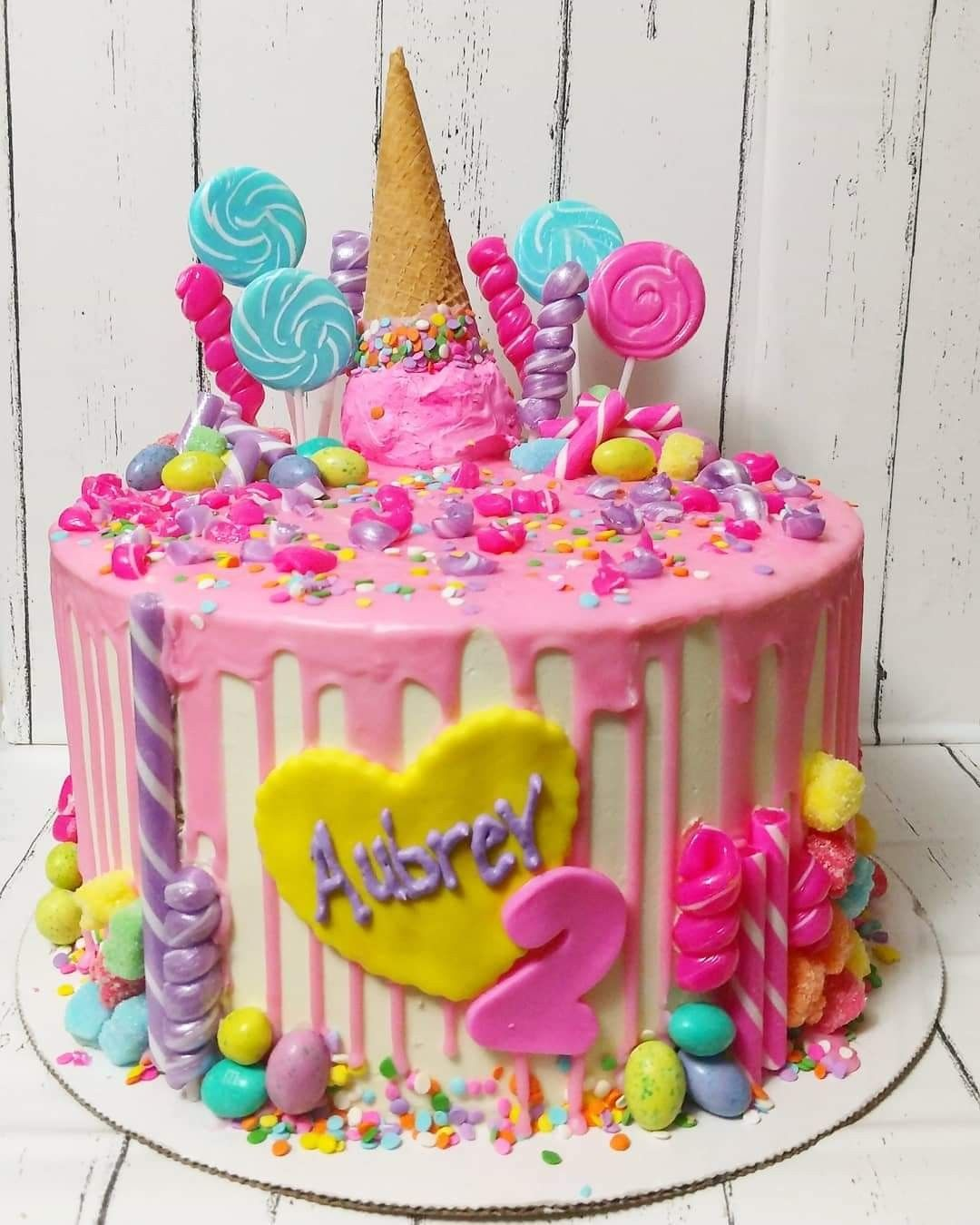 Two sweet Candy Ice Cream Drip Cake (With images