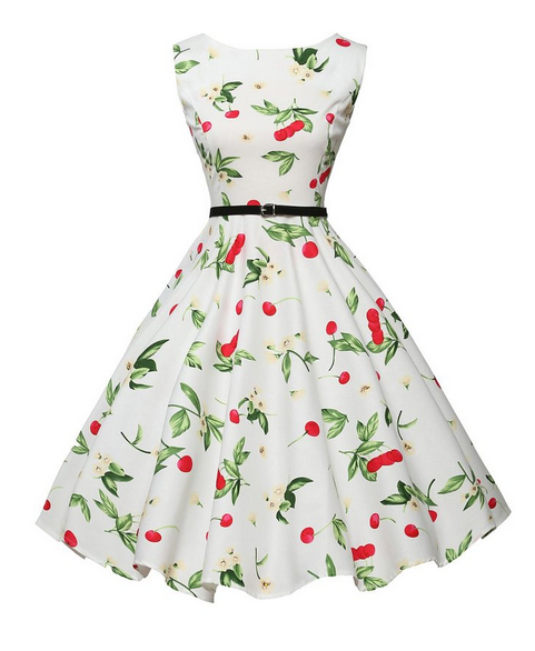 59e3260734 Rockabilly Dresses Vintage Pin-Up 60S 50S Summer Dress Casual Cute Cherry  Print Black White Cotton Retro Vestidos Robe JY10108