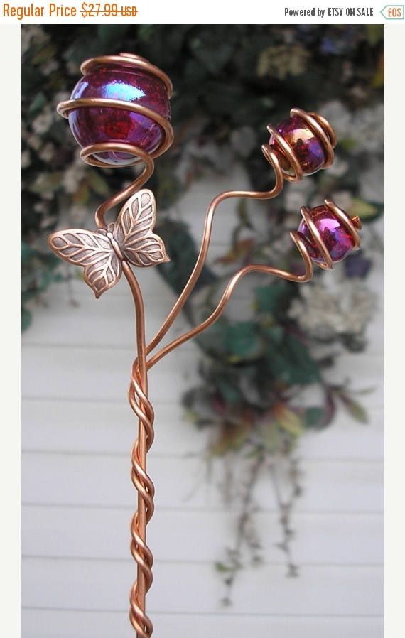 Butterfly/Dragonfly Garden Plant Stake   Metal Sculpture   Glass Copper Art    Yard Lawn Outdoor Pond Red