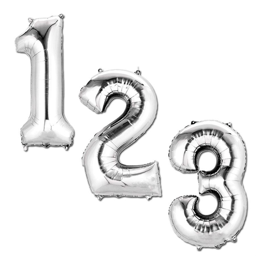Partydeko Xxl Zahlen 0 9 Silber Folienballon Geburtstag Luftballons Partydeko Luftballons
