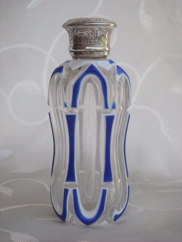 SAMPSON MORDAN DOUBLE OVERLAY PERFUME/SCENT BOTTLE COOPER PATENT SILVER LID