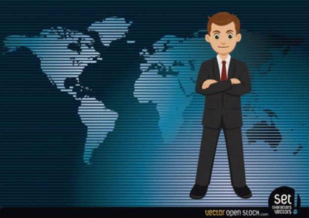 Serious businessman on worldmap Free Vector