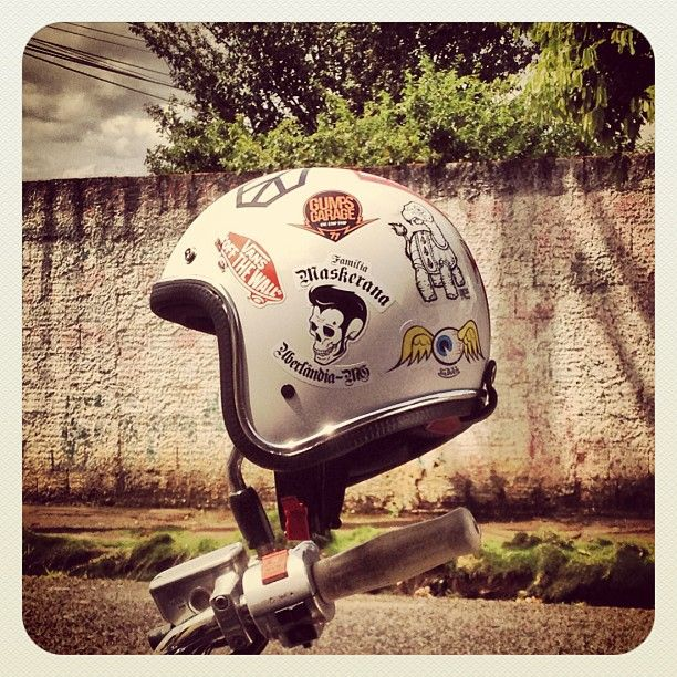 Helmet Openface Custom Motorcycle Familiamaskerana - Custom motorcycle helmet stickers custom