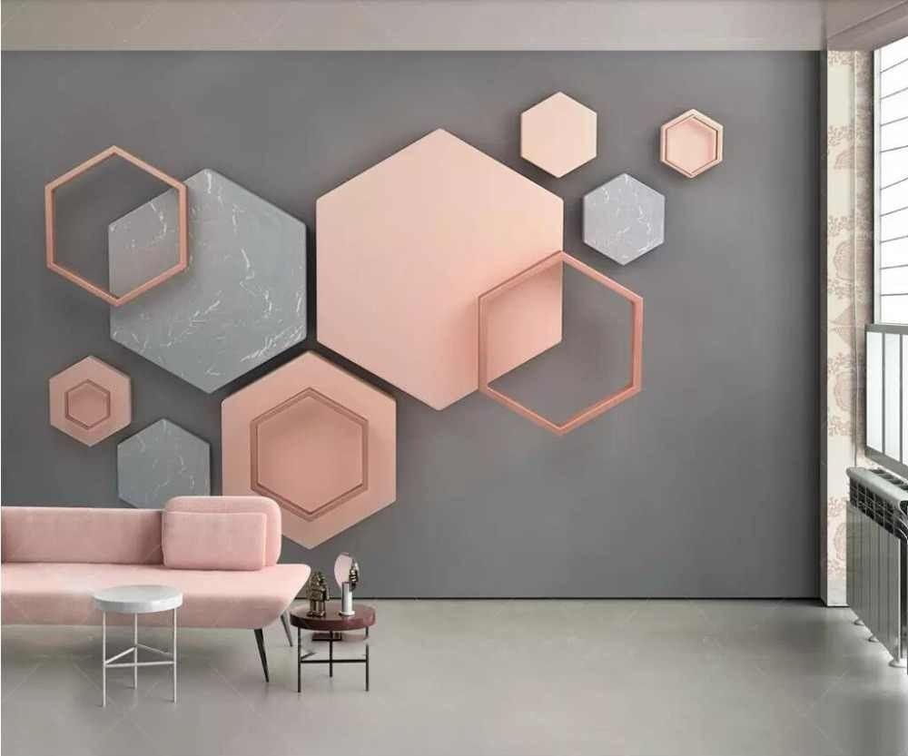 Custom Photo Wallpaper Modern Geometric Marble 3d Wall Murals Living Room Bedroom Backdrop Wall Papers For Walls 3 D Home Decor Em 2020 Decoracao Parede Quarto Murais De Parede 3d Pintura