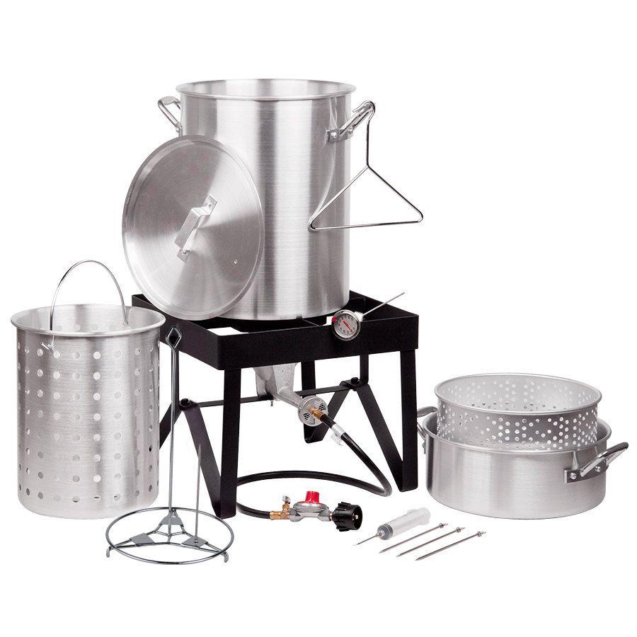 Backyard Pro 30 Quart Deluxe Turkey Fryer Kit And Steamer 80