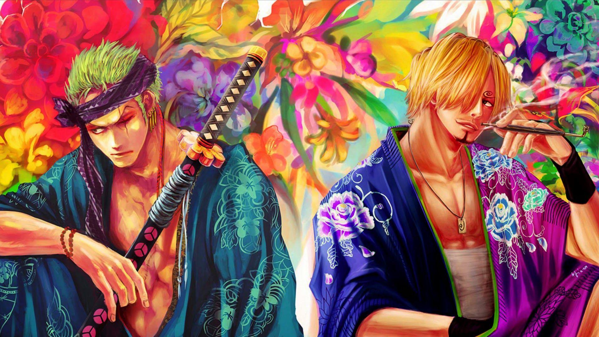 Roronoa Zoro And Sanji Kimono One Piece Anime Image