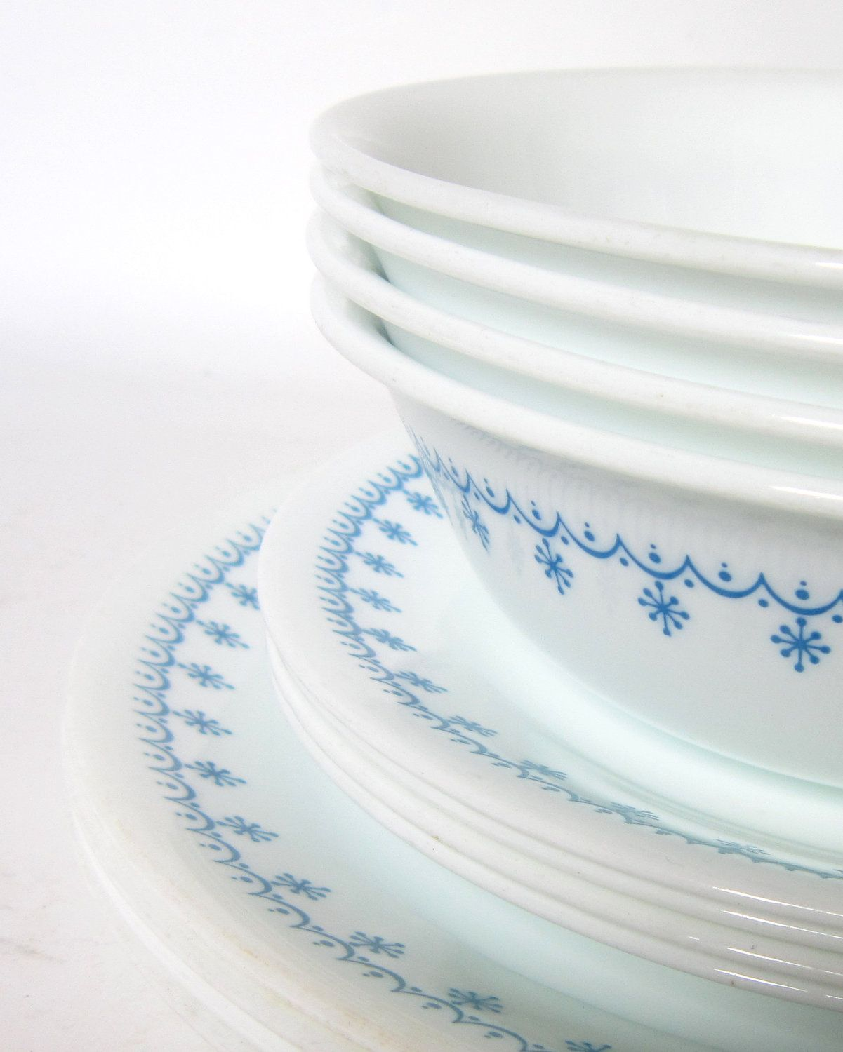 Black Friday Etsy 15% Off -- 12-Pc Corelle  Snowflake Blue  Dinnerware Set - Service for 4- Garland Blue u0026 White Dishes and Bowls : white dinnerware sets service for 12 - pezcame.com