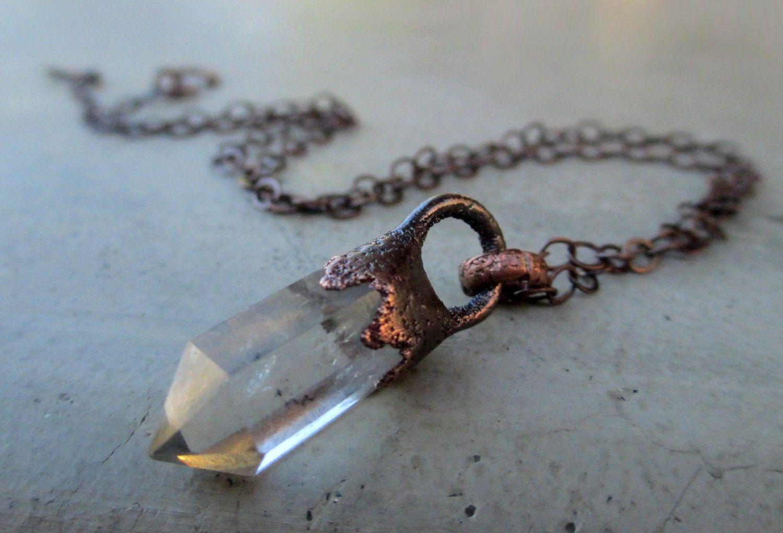 Quartz Talisman Crystal Quartz and Copper Droplet Pendant