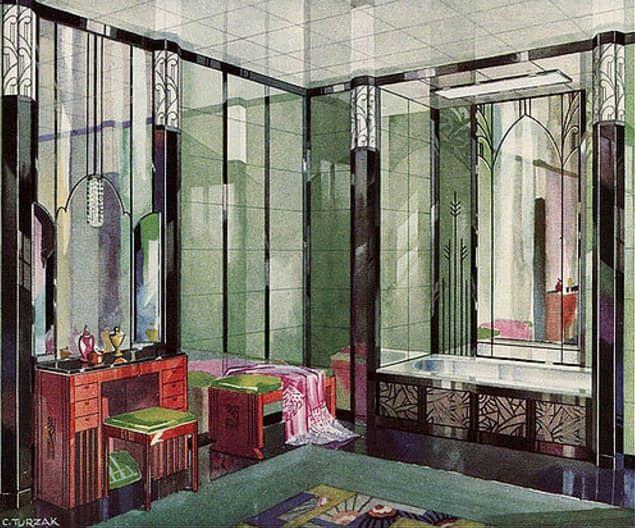 Art Deco Badkamer : Colorful tile in s art deco bathrooms decor