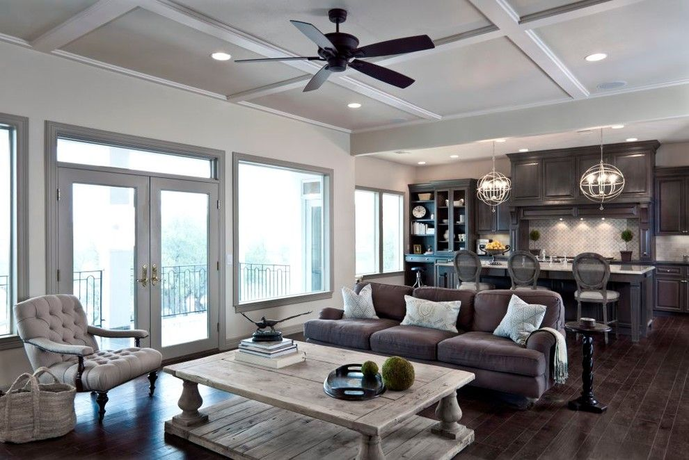 Slightly Coffered Light Grey Ceiling With Dark Wood Ceiling Fan