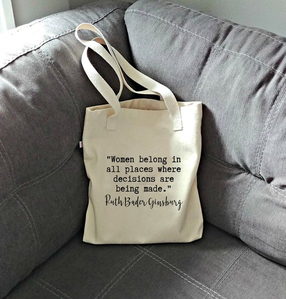 2be11d48d7b6 RBG Cotton Tote Bag, Reusable Shopping Bag, Ruth Bader Ginsburg Quote,  Feminist Gift
