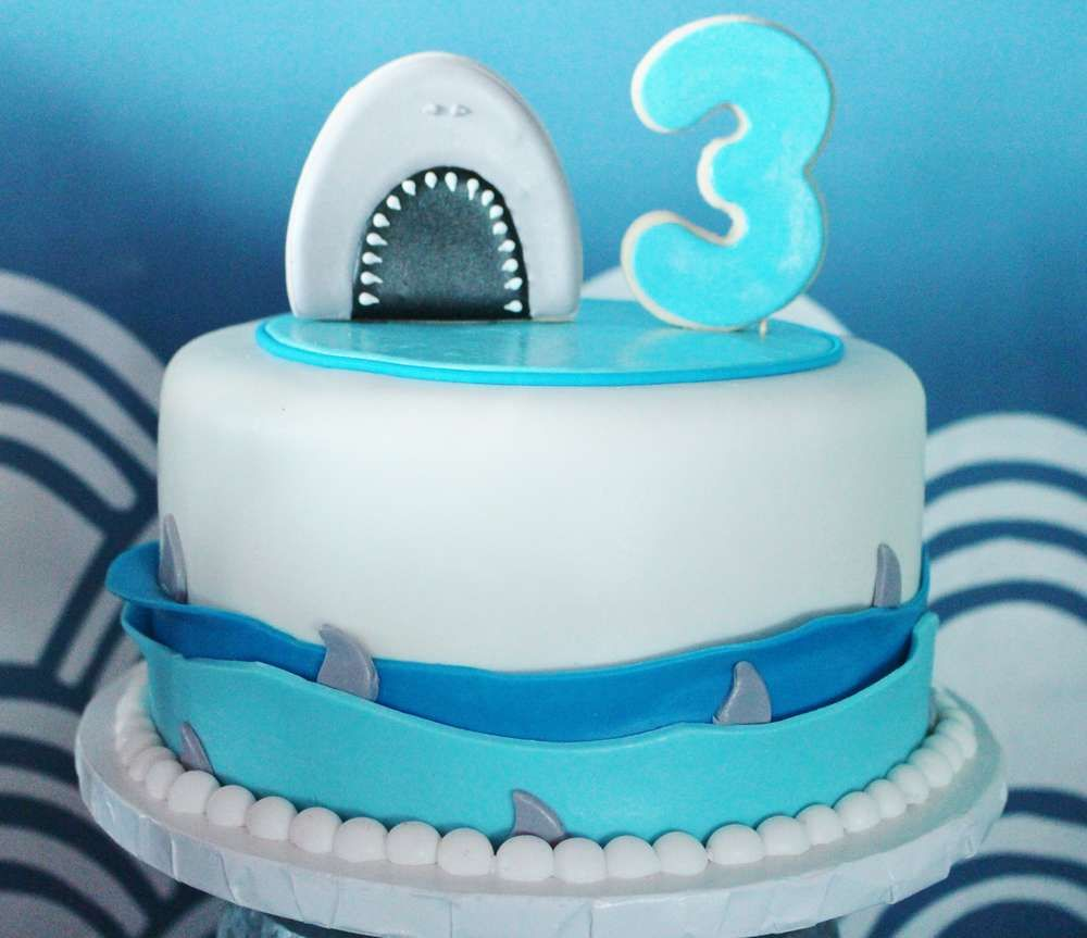 Shark birthday party cake! See more party ideas at CatchMyParty.com!