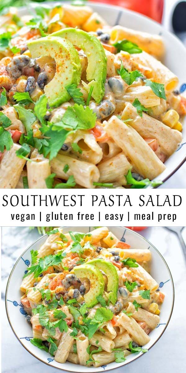 Southwest Pasta Salad with Spicy Garlic Dressing This easy Southwest Pasta Salad is naturally vegan, healthy and packed with incredibly flavors. It comes with a creamy dressing that makes this an amazing dinner and lunch recipe for families. Also great for mealprep, potlucks, and BBQ's.