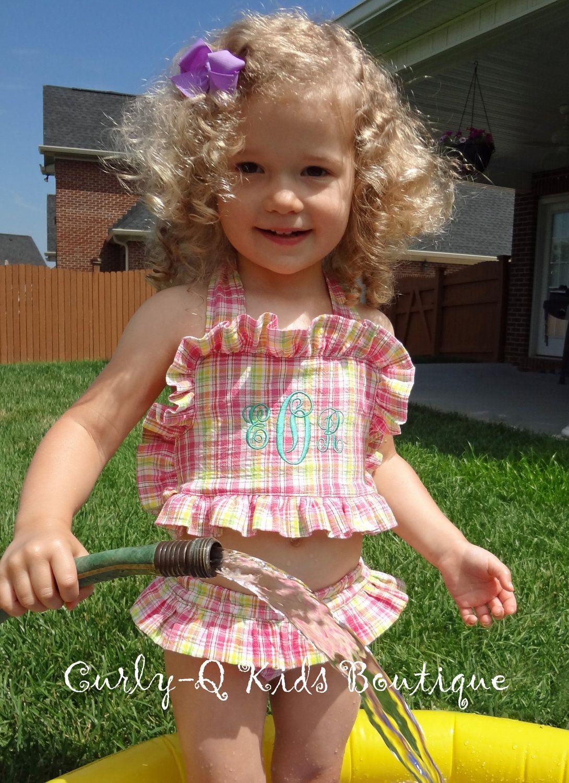 5cd83ba2ee Toddler/Girls Monogrammed Seersucker Swim Suit | Toddlers bathing ...
