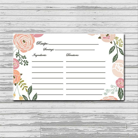 soft pastel flower recipe card 3x5 instant printable download