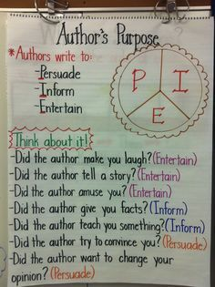 Author's Purpose Anchor Chart by Donna Hackett-Mello... Me! ;)