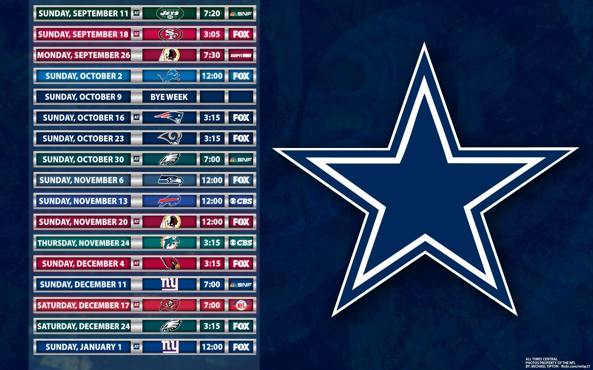 cowboys schedule 2014 football charts and team
