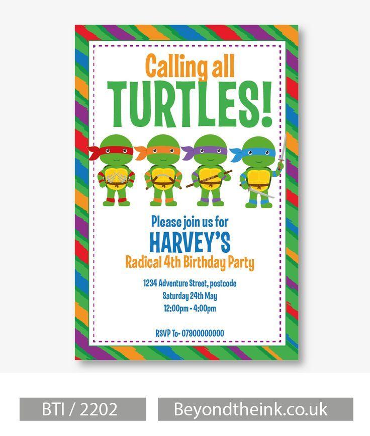 Personalised teenage mutant ninja turtles invitations printed on personalised teenage mutant ninja turtles invitations printed on professional 300 gsm smooth card with free stopboris Gallery