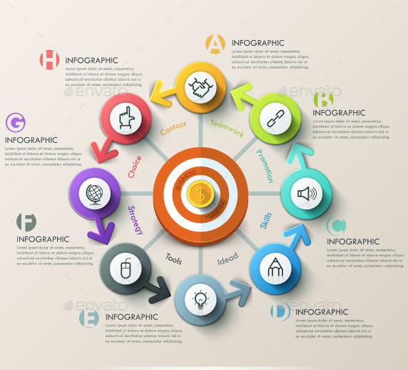 Modern Infographic Target Marketing Concept 4 Items Marketing Concept Infographic Infographic Tools