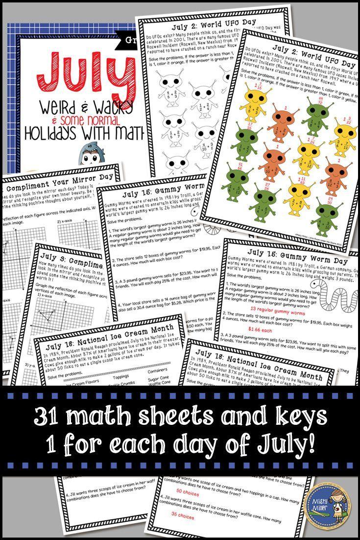 Summer Math July Weird And Wacky Holidays Summer Math Math Wacky Holidays [ 1102 x 735 Pixel ]