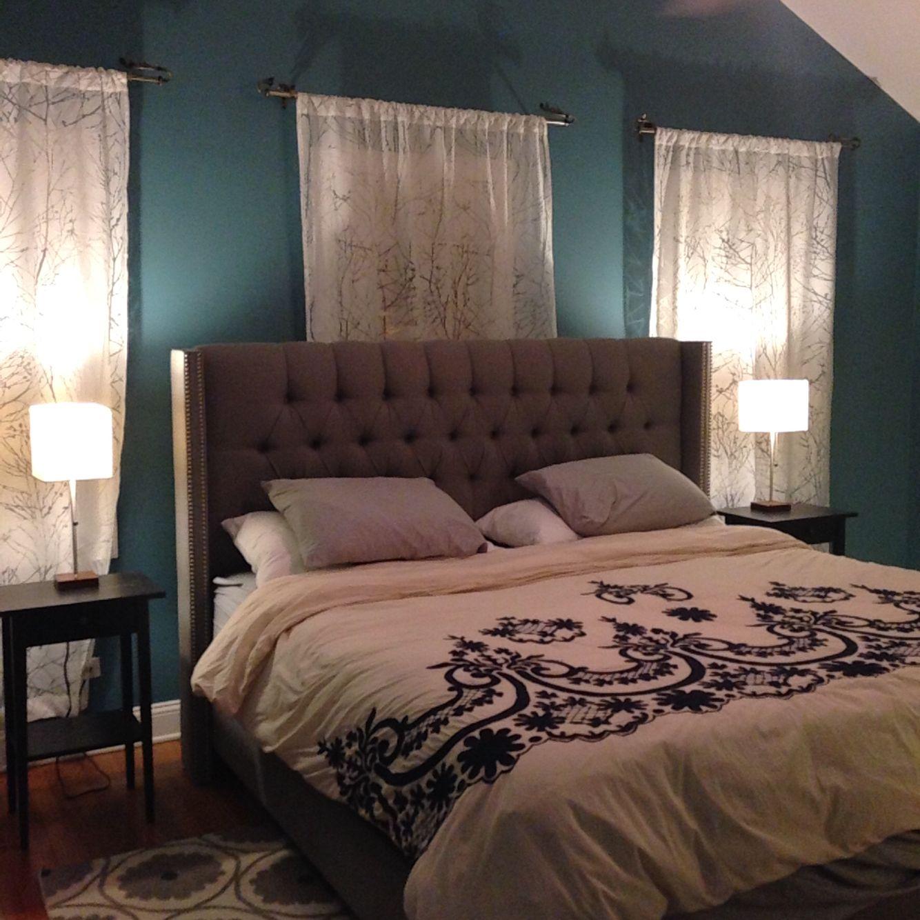 Bedroom Bookshelves Bedroom Colors Benjamin Moore Peppa Pig Bedroom Accessories Black Glitter Wallpaper Bedroom: Our Bedroom! Paint Is Baltic Sea From Benjamin Moore