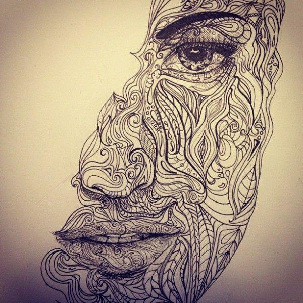 Pin by h nur i on doodles zentangles pinterest for Doodle art faces
