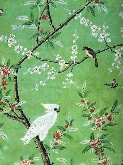 Antique chinoiserie wallpaper detail ca 1753
