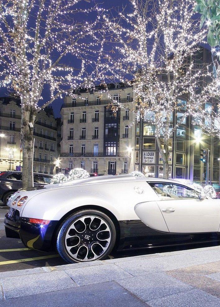 Bugatti Veyron Under Christmas Twinkle Lights