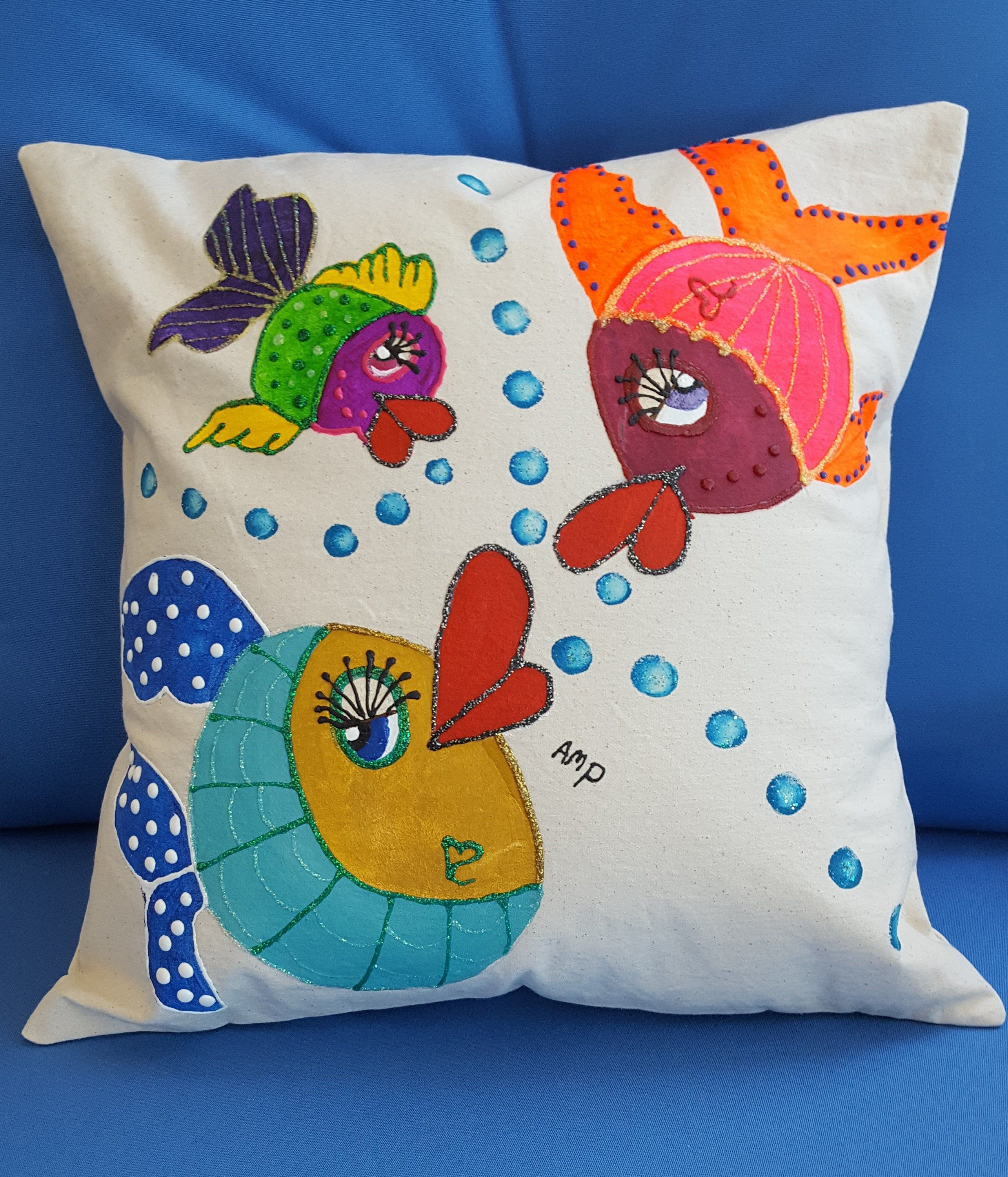 Decorative Pillow Cover Funky Fish Handmade And Hand Painted Colorful Funky Fish Fits A 16 Pillow G Hand Painted Pillows Decorative Pillow Covers Pillows
