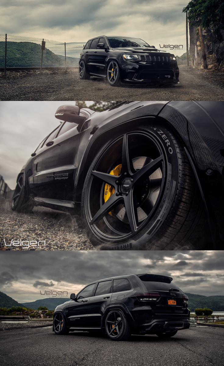 Custom Black Jeep Grand Cherokee Srt With Dark Smoke Led