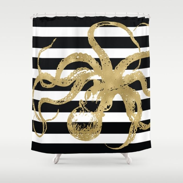 Buy Ultra Soft Microfiber Duvet Covers Featuring Gold Octopus On Black White Stripes By Amy Brinkman Hand Sewn And Meticulously Crafted