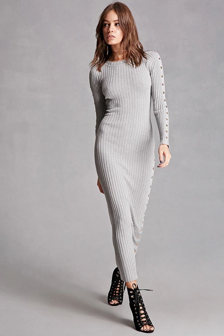 A heavyweight ribbed knit maxi dress featuring long sleeves with